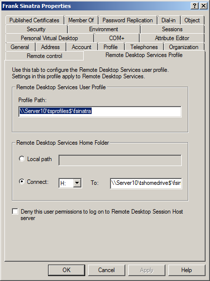 Configuring remote desktop services profile settings for users 11 open the properties sheet of a user account 12 choose the remote desktop services profile tab 13 here you can define the settings for a single user yadclub Images