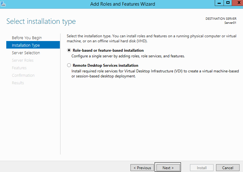 Boot your VM: Install Windows Server 2012 R2.
