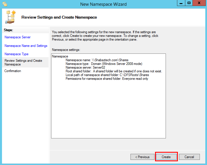 Installing and Configuring DFS-N on Windows Server 2012 R2